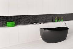 Bathroom interior 3d. Bathroom interior with black white wall 3d render Stock Image