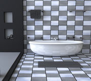 Bathroom interior 3d illustration black and white Stock Photos