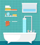 Bathroom interior with bath and shower Royalty Free Stock Images