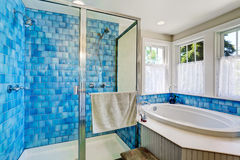 Bathroom interior with blue tile trim. View of bathtub and shower Royalty Free Stock Photos