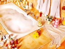 Bathroom interior with bubble bath. Home bathroom interior with bubble bath stock photography