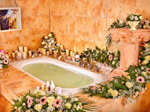 Bathroom interior with bubble bath Royalty Free Stock Image