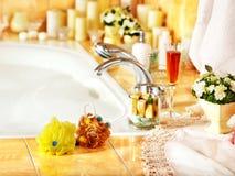 Bathroom interior with bubble bath. Home bathroom interior with bubble bath royalty free stock photography