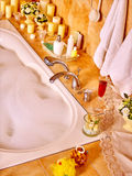 Bathroom interior with bubble bath Royalty Free Stock Photography