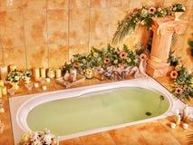 Bathroom interior with bubble bath Royalty Free Stock Photos