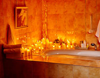 Bathroom interior with bubble bath Stock Photos