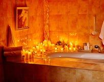 Bathroom interior with bubble bath Stock Photos