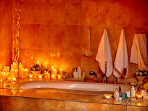 Bathroom interior with bubble bath. Royalty Free Stock Photos