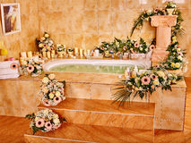 Bathroom interior with bubble bath Royalty Free Stock Images