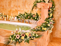 Bathroom interior with bubble bath Royalty Free Stock Image