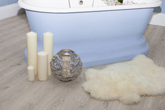 Bathroom interior with candles on the floor Stock Photography