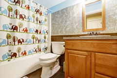 Bathroom interior with cheerful curtain Royalty Free Stock Photo