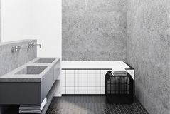 Concrete bathroom, tiled tub and sink. Bathroom interior with concrete walls, a large angular tiled tub and a double sink. 3d rendering mock up vector illustration