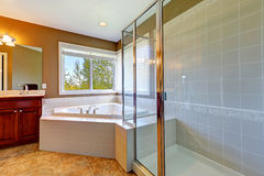 Bathroom interior with corner bath tub and screened shower. Tile floor and white tile wall trim Stock Image