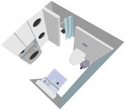 Bathroom interior cutaway illustration top view Stock Photos