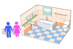 Bathroom interior with 3d facilities vector illustration Royalty Free Stock Photo