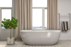 Bathroom interior. 3D illustration. Brown Royalty Free Stock Image