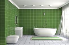 Bathroom interior. 3D illustration. Green Stock Photography