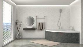 Bathroom interior. 3D illustration. Grey Stock Photos
