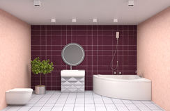 Bathroom interior. 3D illustration. Red Royalty Free Stock Photo