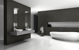 Bathroom Interior Design. Bathroom with modern and contemporary design and furniture in black and white, 3d rendering Royalty Free Stock Photo