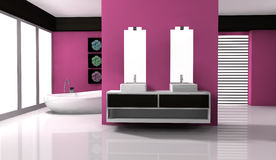 Bathroom Interior Design. Bathroom with contemporary design and furniture colored in pink and black, 3d rendering Stock Images