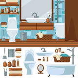 Bathroom interior design. Accessories and furniture set. Royalty Free Stock Image
