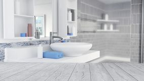 Bathroom Interior Design With Blue Towels and Empty Wooden Floor royalty free illustration