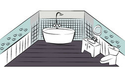 Bathroom interior design colorful sketch Royalty Free Stock Photography