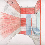 Bathroom interior - drawing Royalty Free Stock Image