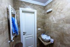 Bathroom interior. Entrance door wide angle shots. Bathroom interior. Entrance door wide angle shot Stock Photos