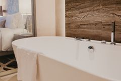 Bathroom interior with a faucet stock photography