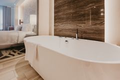 Bathroom interior with a faucet stock photo
