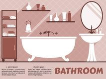 Bathroom interior flat design Royalty Free Stock Images