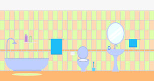 Bathroom interior. Flat style. Furniture display panorama stock illustration