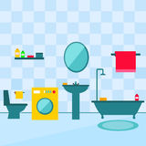 Bathroom interior in flat style illustration. Royalty Free Stock Photo