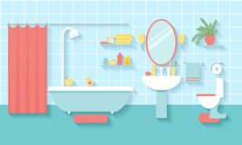 Bathroom interior in flat style Stock Photo
