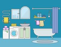 Bathroom interior flat vector illustration. Bathroom with blue walls, shower, washing machine, sink, dryer, mirror. Bathroom interior equipment concept vector illustration