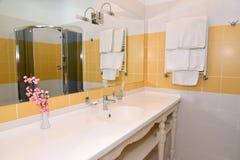 Bathroom interior fragment with a big mirror Stock Photos