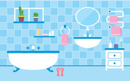 Bathroom interior with furniture in blue colors. Flat style vector illustration. Bathroom interior with furniture in blue colors Stock Photography