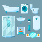 Bathroom interior furniture and different equipment. Vector illustrations in cartoon style Royalty Free Stock Photography