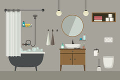 Bathroom interior with furniture. Royalty Free Stock Photo