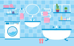 Bathroom interior with furniture. Flat style vector illustration. Bathroom interior with furniture in blue colors Royalty Free Stock Photography