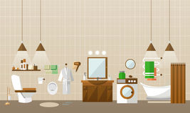 Bathroom interior with furniture. Vector illustration in flat style. Design elements, bathtub, washing machine Royalty Free Stock Photography