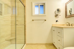 Bathroom interior with glass door shower Stock Photo