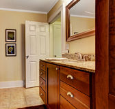 Bathroom interior with granite top cabinet Stock Photos