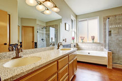 Bathroom interior with granite top cabinet royalty free stock image