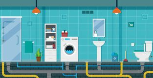 Bathroom interior. The bathroom has a shower and toilet with a water hose vector illustration