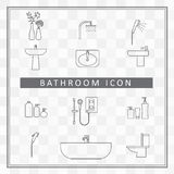 Bathroom interior icon shower room elements outline vector Stock Images