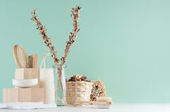 Free Bathroom Interior In Green Mint Menthe With Beige Wooden Organic Cosmetic Accessories -  Bath Sponge, Soap, Towel, Dried Flowers. Stock Photography - 176584502